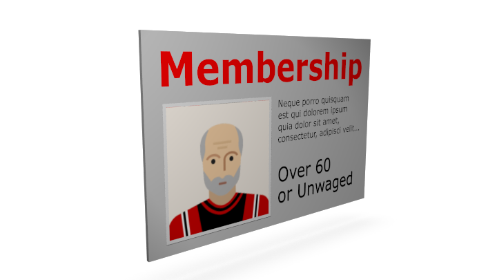 Membership Over 60 or Unwaged